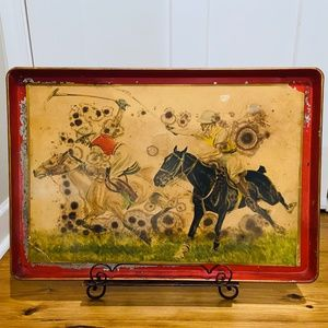Antique French Tole Tray with Polo Players